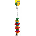 I157019-Avi One Chain Bird Toy With Stars, Beads & Bell