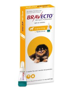 I246867-Bravecto Spot On Flea Treatment For X-small Dogs 2-4.5kg - Yellow 1 Pack