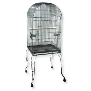 I120717-Avi One Arched Open Top Parrot Cage Silver/black