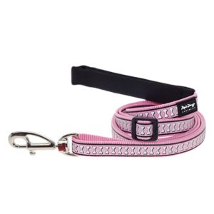 I131445-Red Dingo Small Dog Lead Reflective Lots-a-bones Pink