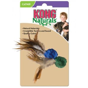 I139012-Kong Naturals Crinkle Ball With Feathers Cat Toy