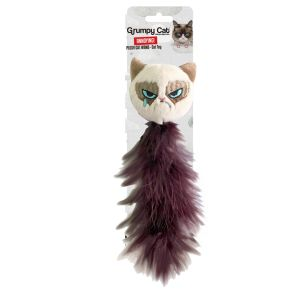 I252272-Grumpy Cat Feather Tail Cat Toy