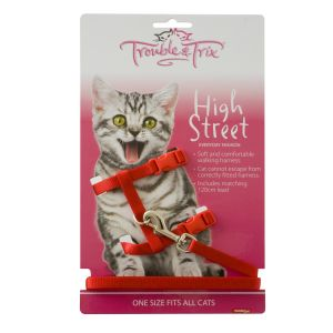 I248528-Trouble & Trix Cat Harness High Street Red