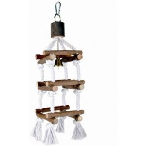 I142156-Trixie Bird Square Rope And Wood Ladder With Bell 34cm