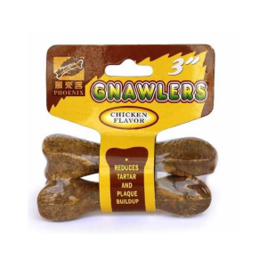 I246545-Gnawlers Chicken Bone Dog Treats 3 Inch 2 Pack