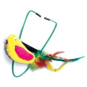 I246595-A-door-able Fur Plush Bird Bungee Cat Toy