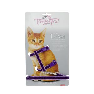 I248530-Trouble & Trix Cat Harness Diva Velvet Stitch Purple