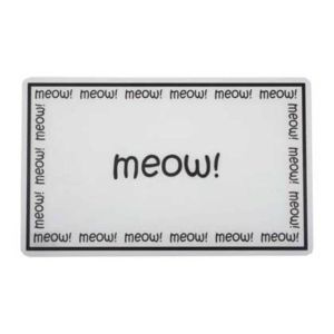 I154244-Petrageous Meow Cat Placemat - Clear With Black Writing