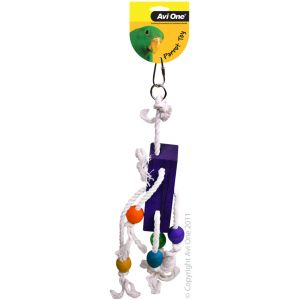 I157004-Avi One Rope Bird Toy With Wood Block & Beads