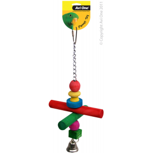 I157021-Avi One Chain Bird Toy With Perch, Beads & Bell