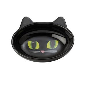 I159374-Petrageous Frisky Kitty Black Oval Cat Bowl 12cm