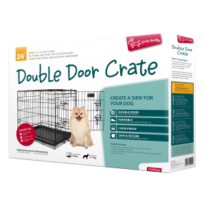 I248058-Yours Droolly Double Door Dog Crate 24 Inch 610x460x480