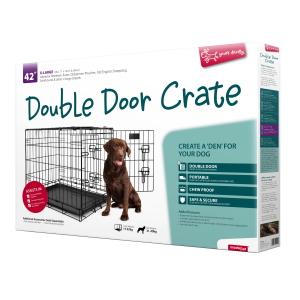 I248061-Yours Droolly Double Door Dog Crate 42 Inch 106lx71wx76h