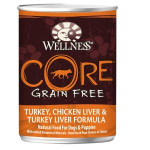I246645-Wellness Core Grain Free Turkey Chicken & Liver Dog Food 356g
