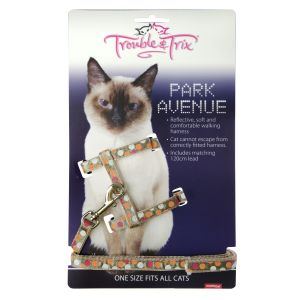 I248531-Trouble & Trix Cat Harness Park Avenue Circle Beige