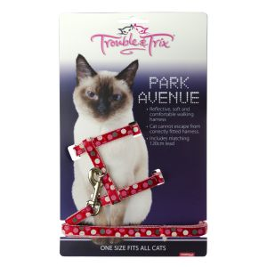 I248532-Trouble & Trix Cat Harness Park Avenue Circle Red