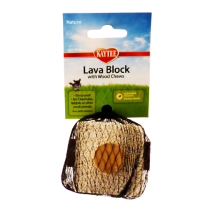 I163097-Kaytee Natural Lava Block With Wood Chew Small Pet Toy