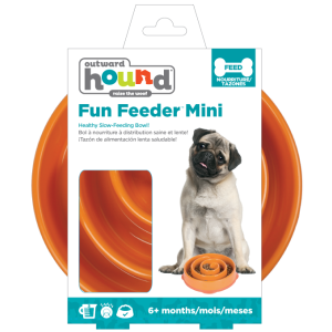 I247086-Outward Hound Fun Feeder Dog Bowl Orange Mini