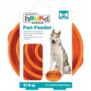 I247083-Outward Hound Fun Feeder Dog Bowl Coral Orange