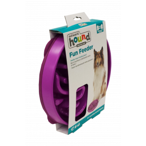 I247085-Outward Hound Fun Feeder Dog Bowl Flower Purple
