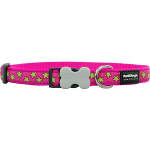 I248387-Red Dingo Dog Collar Stars Lime On Hot Pink 25mm X 41-63cm