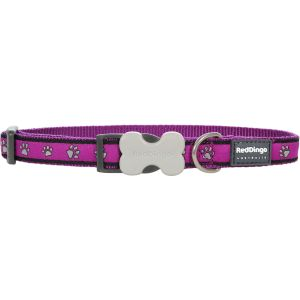 I248390-Red Dingo Dog Collar Pawprints Purple 20mm X 30-47cm