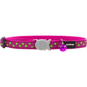 I169766-Red Dingo Cat Collar Stars Lime Hot Pink