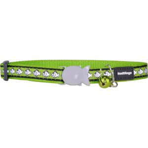 I169771-Red Dingo Cat Collar Reflective Fish Lime Green