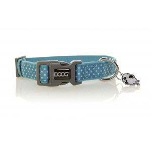 I247537-Doog Snoopy Blue & White Polkadots Medium Dog Collar