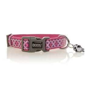 I247540-Doog Toto Pink & Grey Polkadot Medium Dog Collar
