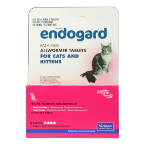 I224120-Endogard Worm Treatment For Cats Under 5kg - 4 Tab Pack