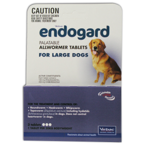 I246628-Endogard Worm Treatment For Large Dogs Over 20kg - 3 Tab Pack