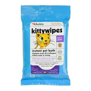 I226502-Petkin Instant Bath Kitty Wipes 15pack