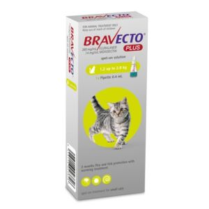 I246871-Bravecto Plus Spot On Flea Treatment For Cats 1.2-2.8kg - Green 1 Pack