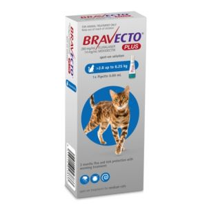 I246872-Bravecto Plus Spot On Flea Treatment For Cats 2.8-6.25kg - Blue 1 Pack