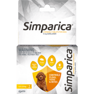 I246873-Simparica Flea Treatment For Dogs 1.3kg - 2.5kg - Yellow 1 Pack
