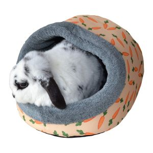 I251144-Rosewood Carrot Print Plush Hooded Bed
