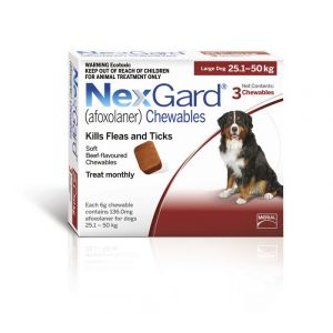 I246767-Nexgard Chewable Tablet Flea & Tick Treatment For Lge Dogs 25-50kg - 3 Pack