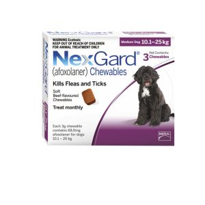 I246766-Nexgard Chewable Tablet Flea & Tick Treatment For Med Dogs 10-25kg - 3 Pack