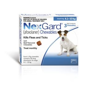 I246765-Nexgard Chewable Tablet Flea & Tick Treatment For Sml Dogs 4-10kg - 3 Pack