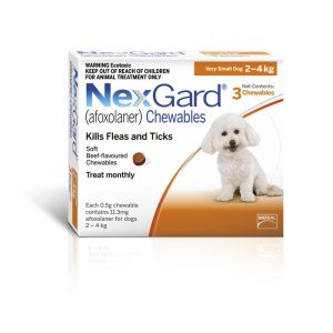I246764-Nexgard Chewable Tablet Flea & Tick Treatment For Xsml Dogs 2-4kg - 3 Pack