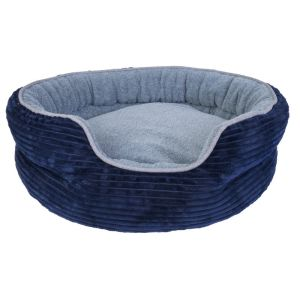 I248133-Yours Droolly Round Navy Osteo Dog Bed Large