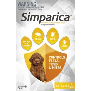 I246861-Simparica Flea Treatment For Dogs 1.3-2.5kg - Yellow 3 Pack