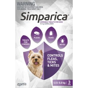 I246862-Simparica Flea Treatment For Dogs 2.5-5kg - Purple 3 Pack