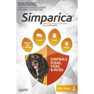 I246863-Simparica Flea Treatment For Dogs 5-10kg - Orange 3 Pack