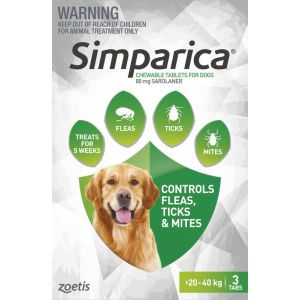 I246562-Simparica Flea Treatment For Dogs 20-40kg - Green 3 Pack