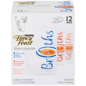 I247648-Fancy Feast Broths Classic Collection Multipack Cat Food 12x40g