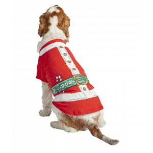 I251899-Joy Love Hope Santa Dog T-shirt Red White Large