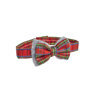 I251911-Joy Love Hope Plaid Dog Bowtie Red Grey Medium-large