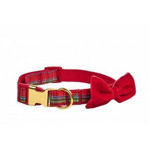 I251915-Joy Love Hope Plaid Bow Adjustable Dog Collar Red Medium